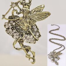 Elf Fairy Tinkerbell Large Angel Chain Vintage Rhinestone Wing Necklace Gol