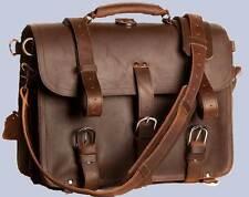 "Extra LARGE 17"" Thick  Saddle Leather  Briefcase Messenger Laptop Bag Backpack"