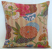Indian Kantha Handmade Cushion Cover Stitch Square Beige Pillow Case 40 x 40 cm
