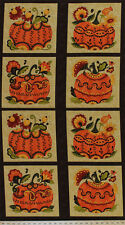 "25"" X 44"" Panel Posh Pumpkins Pumpkin Fall Harvest Cotton Fabric Panel D513.12"