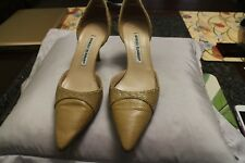Manolo Blahnik Beige Snakeskin Python Pointy Toe Heels Pumps Shoes Size 37.5