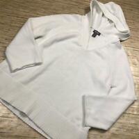 S-54~ Martha Stewart Long Sleeve Hooded Sweater Side Slits WHITE size XS