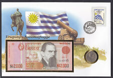 Uruguay 1981 coin & 1989 banknote on stamp cover National Flag South American