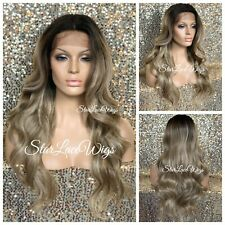 Lace Front Wig Balayage Sandy Ash Champagne Blonde Dark Roots Long Baby Hair