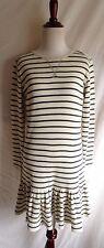 Polo Ralph Lauren M Navy Blue Ivory Stripe Thermal Waffle Knit Shirt Dress