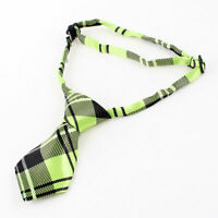 Black Green Pre Tie Check Printed Adjustable Doggie Pup Dog Cat Pet Necktie