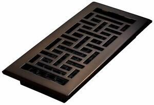 "Decor Grates AJH410-RB Oriental Floor Register, Rubbed Bronze, 4"" x 10"""