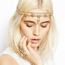 Bohemian Gold Pearl Hair Head Chain Boho Headpiece Headband Hippie Wedding Party