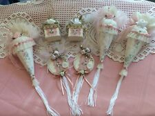 LOT OF 7 VICTORIAN PINK ASSORTED CHRISTMAS ORNAMENTS.....