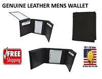 Leather Tri-fold Black Wallet Bills Credit Card Holder Pockets Unisex Men Women