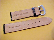 22mm Black Genuine Crocodile Valais Wrist Watch Strap White Gold Plated Buckle