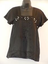WORTHINGTON Small Black Poly Satin Beaded Pleat Front Square Neck Blouse Top