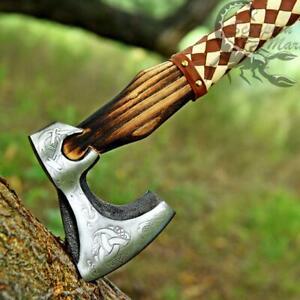 Viking Battle Axe Custom Ash Wood Handle - VIKING THROWING AXE - Leather Wrap