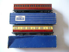 Lot x2 Hornby Dublo Model Railway Coaches:D14 Suburban + D11 Corridor With Boxes