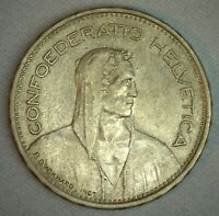 1939 B Switzerland 5 Francs Coin Extra Fine Silver