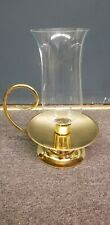 Vintage Baldwin Solid Brass Hurricane Candle Holder Lamp Glass Shade