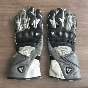 Dainese Racing Genuine Leather Motorcycle Bike XL White Gloves With Aramid Fibre