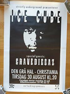 Ice Cube Gravediggaz Concert Poster 1994 Denmark Gangsta Rap Horrorcore Rare