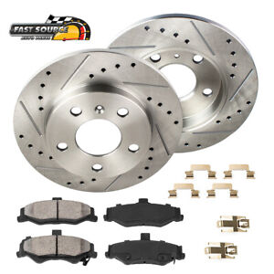 For Ford Five Hundred Taurus Sable Rear Drill Slot Brake Rotors & Ceramic Pads
