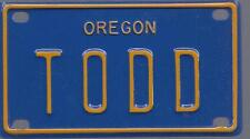 TODD Blue Oregon - Mini License Plate - Name Tag - Bicycle Plate!