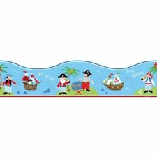Pirate Boat Sea Themed Wallpaper Border Blue Red Green Childrens Bedroom