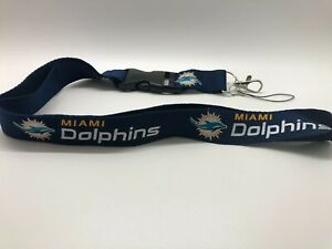 Miami Dolphins Lanyard ID Badge Key Chain Clip Face Mask Holder Strap Saver