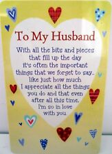 "HEARTWARMER KEEPSAKE MESSAGE CARD ""TO MY HUSBAND"" NICE VERSE BIRTHDAY GIFT CARD"