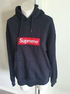 SUPREME Black Hoodie S Red Box Logo great Condition casual jumper hood long slv