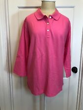 TALBOTS ~ Women's 100% Cotton 3/4 Sleeve Polo Style Top - PINK (XL) - NWT