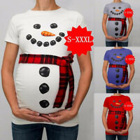 Women Maternity Xmas Christmas Snowman Cartoon T-Shirt Pregnancy Tops Clothes AU