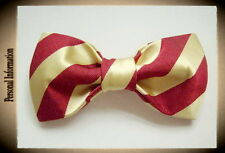 Hand Sewn Pre-tied Silk Bowtie Red and Gold yellow Striped  2.5x4.9 inch (cc30)