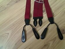 RED MEN BRACES WITH REAL LEATHER ENDS FOR BUTTONS MADE IN GERMANY CAS