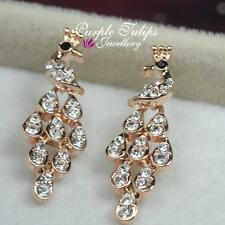 18CT Rose Gold Plated Cute Peacock Stud Earrings Made With Swarovski Crystal