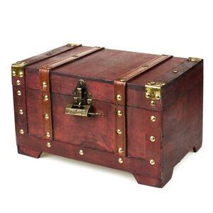 Schatztruhe Schatzkiste mit Schloss Aufbewahrungsbox Holzkiste Piratenkiste Box