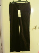M&S Autograph Dark Brown Bootcut Velvet Trousers in Size 12 L - L31.5 - NWT