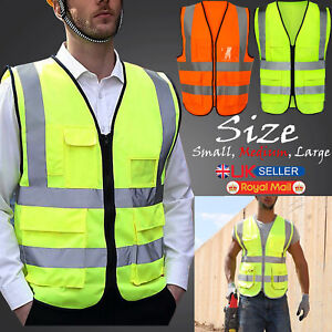 Hi Vis Viz Safety Vest High Visibility Waistcoat Reflective Jacket Orange Yellow