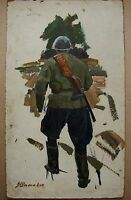Russian Ukrainian Soviet Oil Painting realism soldier figure