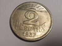 MONEDA DE 2 PESETAS CONSEJO ASTURIAS Y LEON 1937