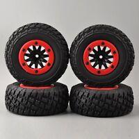 4pcs RC 1/10 Short Course SC Tires & Beadlock Wheels Hex 12mm For Traxxas Slash