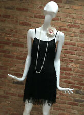 Divided H&M Black Flapper 1920s Gatsby Charleston Tassle Fringe Dress Size 10