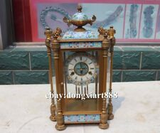 European Retro Bronze cloisonne trophy Cup Mechanical clockwork Clock Timepiece