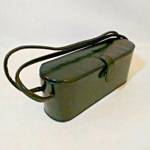 Vintage Black Leather 1950s Purse Bag w Mirror Satin Lining Snap Closure