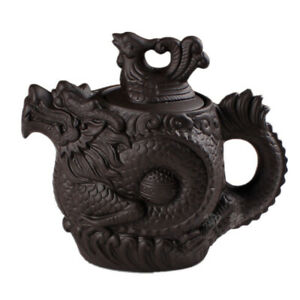 Ceramic Teapot Tea Pot Dragon Phoenix Tea Kettle Tea Infuser Purple Clay Tea Set