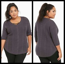 Torrid Plus Size 5 5X Gray Cable Knit Tunic Sweater (4-58)