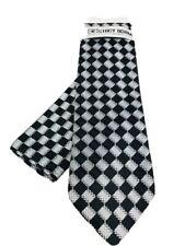 Stacy Adams Men's Tie & Hanky Set Black Silver Diamond Pattern Microfiber