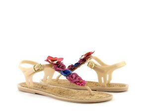 Kate Spade New York Fatema Dusty Mauve Rubber T-Strap Floral Jelly Sandal NEW 7
