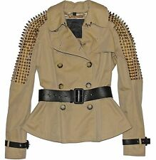 BURBERRY PRORSUM Gold Studded Beige Gabardine Peplum Jacket w/ Leather  IT 40