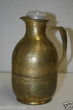 "Vintage Brass Mid Century Metal Thermos ""1911"" Coffee Container Leaf Designs"