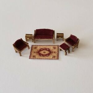 """Dollhouse Miniature 1:144  Scale Traditional Living Room Furniture """"ASSEMBLED"""""""