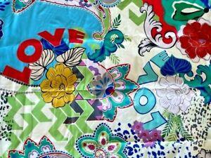 Johnny Was LOVE Reversible 40 x 70 Beach Towel Flower Purple Blanket Blue Bag NW